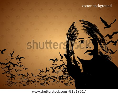 Portrait of Woman with birds - stock vector