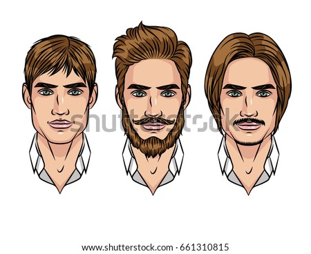Portrait Of Young Attractive Guy With Different Hairstyle Set Hair Styling For Men