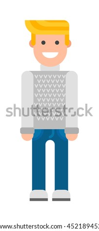 Portrait of young blonde man with blond hair standing isolated on white. Vector blonde man attractive model. Blonde man beautiful casual face, eyes masculine style sensual one teen. - stock vector