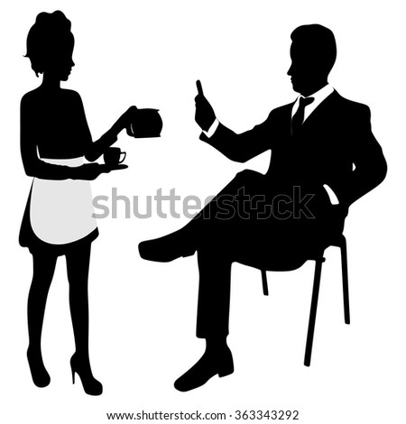 Portrait Of Young business man and Waitress serving coffee