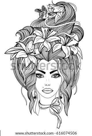 Hand Drawn Illustration Shaman Woman Cloak Stock Vector