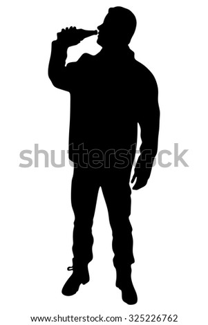 portrait of young man drinking beer  - stock vector