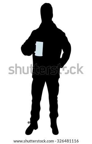 portrait of young man holding beer mug - stock vector