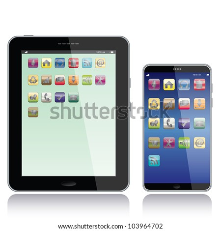 portrait view illustration of a tablet pc and smart phone with apps icons on screen,isolated in white background.