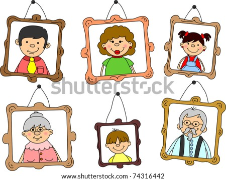 portraits family members mother father daughter stock vector 2018 rh shutterstock com family members clipart free clipart family members