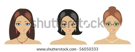 Portraits of three young girls. Vector illustration. - stock vector