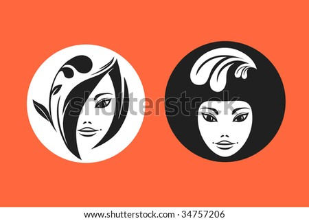 Portraits of two young girls. Vector illustration. - stock vector
