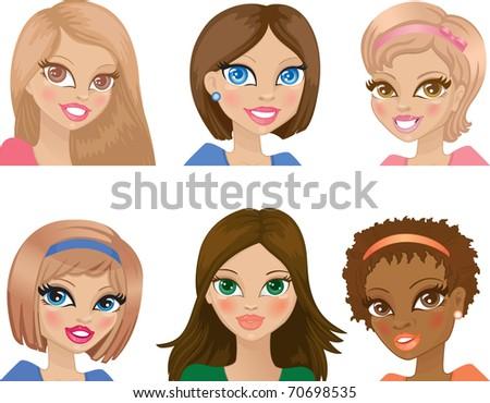 portraits of women - stock vector