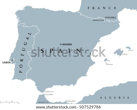 Spain Portugal Map Stock Images RoyaltyFree Images Vectors - Portugal map english