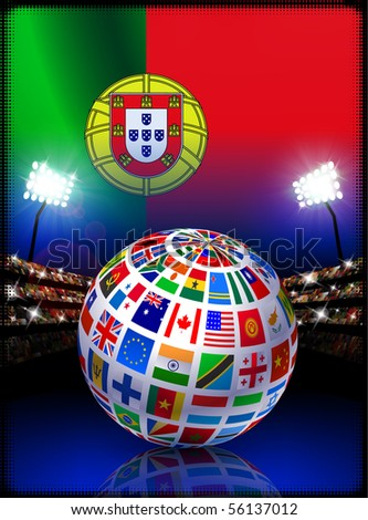 Portugal Flag Globe on Stadium Background Original Illustration