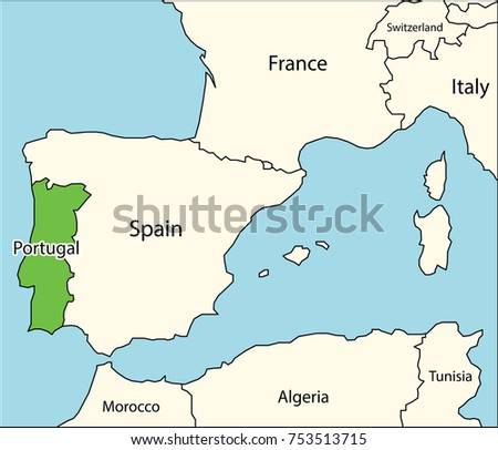 Portugal map neighboring countries stock vector 753513715 shutterstock portugal map with neighboring countries gumiabroncs Gallery