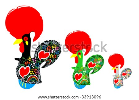 Portugal tourism symbol, the rooster of Barcelos (Galo de Barcelos) - stock vector
