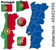 Portugal vector set. Detailed country shape with region borders, flags and icons isolated on white background. - stock photo