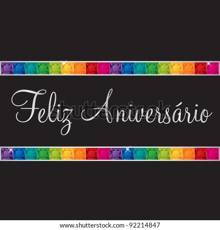 Portuguese 'Happy Birthday' card in vector format. - stock vector