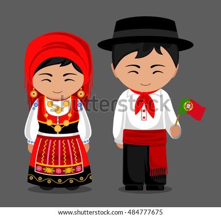 Portuguese National Dress Flag Man Woman Stock Vector