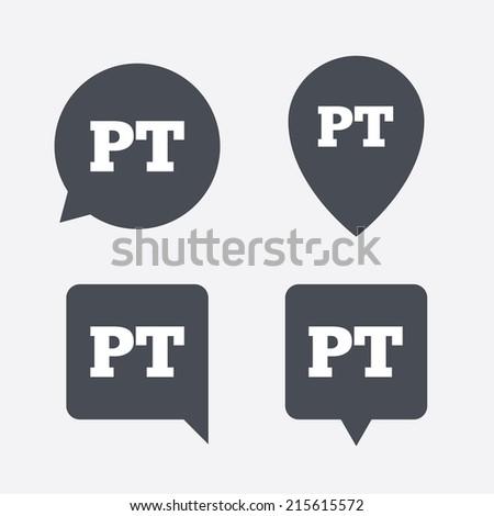 Portuguese Language Sign Icon Pt Portugal Stock Vector - Portugal map icon