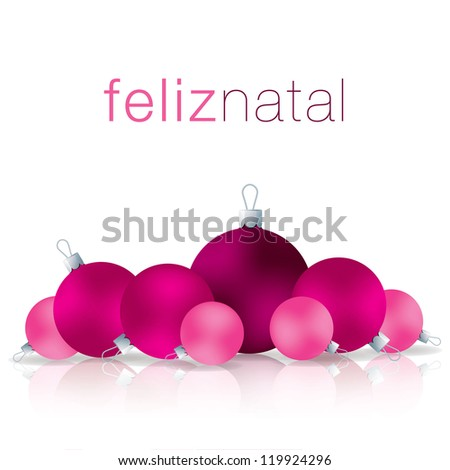 Portuguese Merry Christmas bauble card in vector format. - stock vector