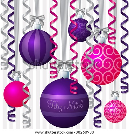 """Portuguese pink and purple ribbon and bauble inspired """"Merry Christmas"""" card in vector format. - stock vector"""