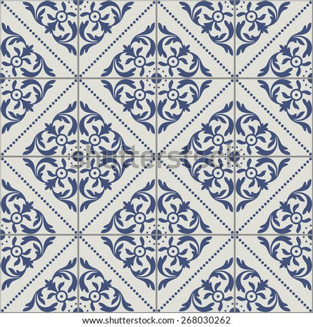 Portuguese Tiles Seamless Pattern - stock vector