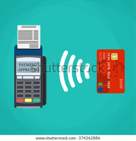 Pos terminal confirms the payment by debit credit card. Vector illustration in flat design on green background. nfc payments concept - stock vector