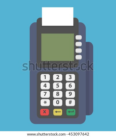 Pos terminal. Credit card reader machine icon. Flat style