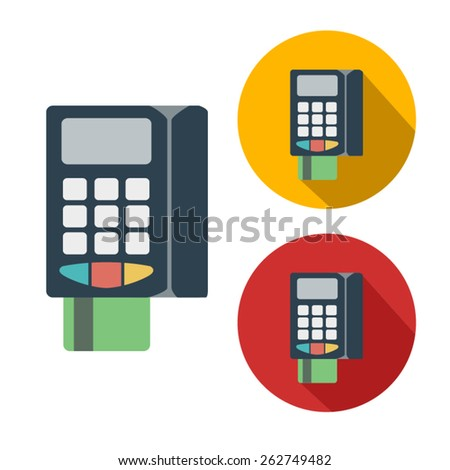 POS terminal flat color and naked icon - stock vector
