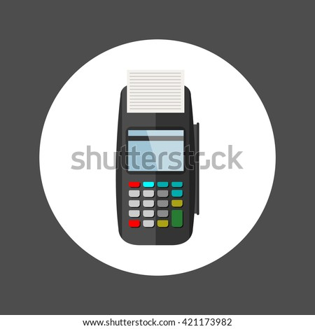 Pos Terminal , Flat design vector illustration