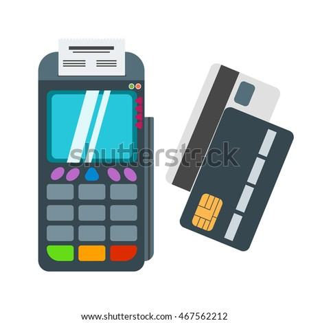POS terminal isolated on white background. POS terminal with barcode scanner and receipt printer. POS terminal with inserted credit card and print receipt. Business transaction money payment card.
