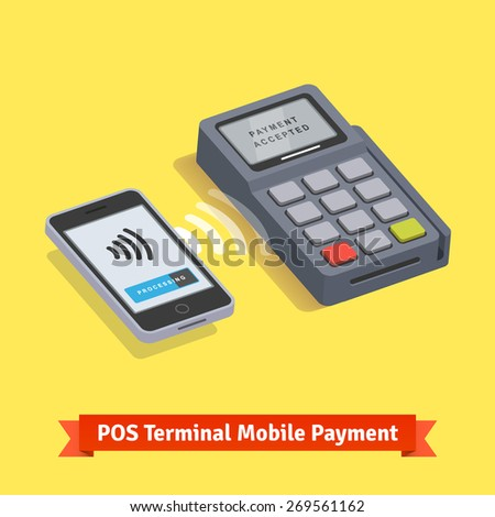POS terminal wireless mobile smartphone payment transaction. Flat style vector icon. - stock vector