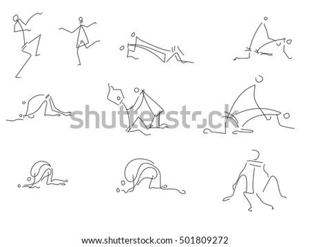 pose figures people wrestling hug attack stock vector (2018