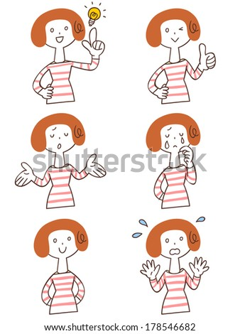 Pose and gesture of six women - stock vector