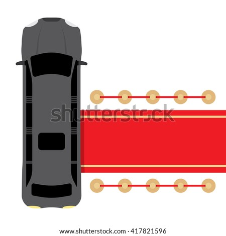 Posh black limousine top view parked near red carpet vector illustration - stock vector