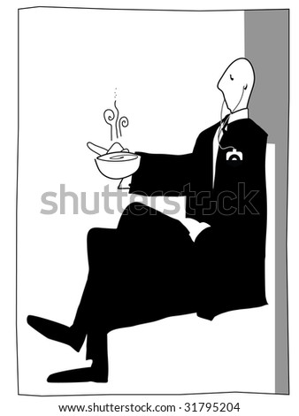 posh gentleman enjoys a cup of tea with his mp3 player keeping him entertained - stock vector