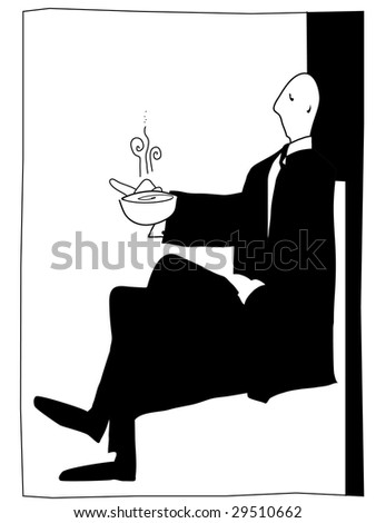 posh gentleman enjoys a hot drink in a simple art deco style. - stock vector