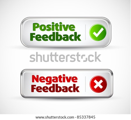 Positive and negative button style banners - stock vector