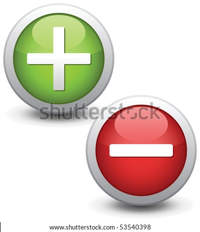 Positive and negative buttons. Vector illustration. - stock vector