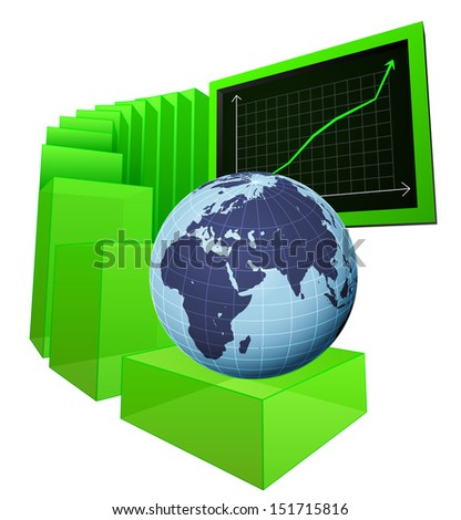 positive business results of European market vector illustration