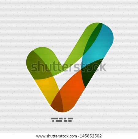 Positive checkmark / tick on paper design - stock vector