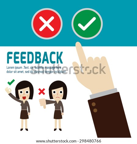 Positive feedback and negative feedback, hand choosing positive review, vector,flat icons design,illustration, customer review concept, people cartoon character, - stock vector