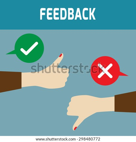 Positive feedback and negative feedback. vector flat icons design,illustration, feedback concept, thumbs up and down - stock vector