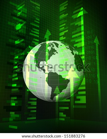 positive growth data in American countries vector illustration - stock vector