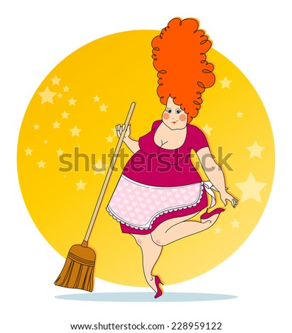 Positive housewife - stock vector
