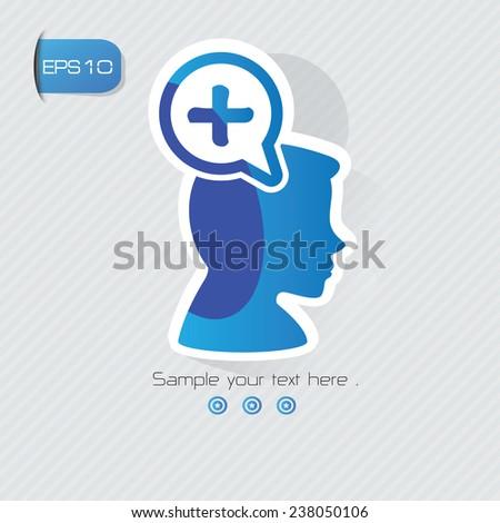 Positive symbol,sticker design,blue version,clean vector - stock vector