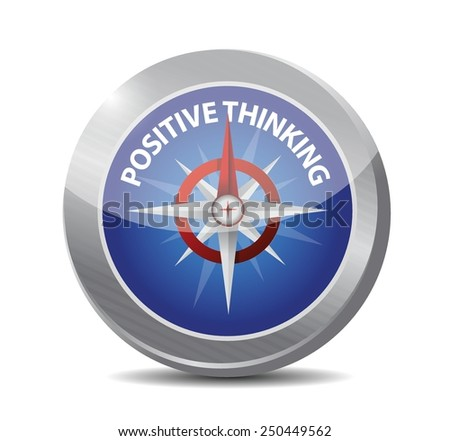 positive thinking compass illustration design over a white background - stock vector