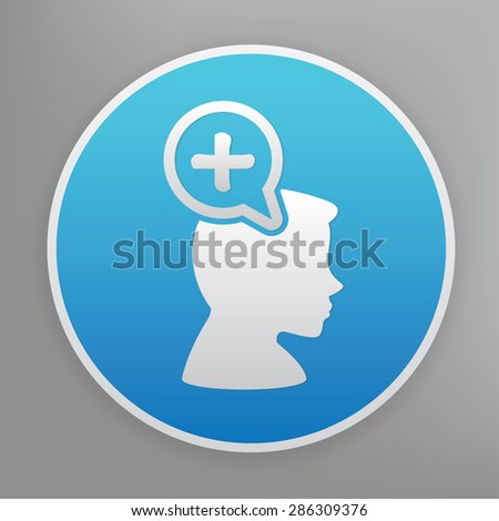 Positive thinking design icon on blue button,clean vector - stock vector