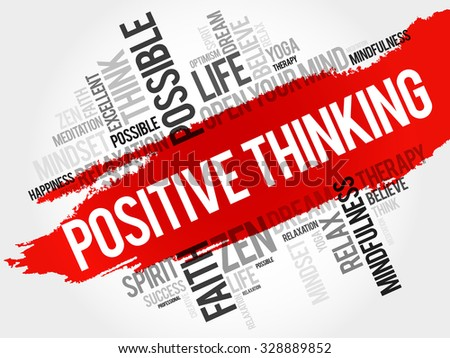 Positive thinking word cloud concept - stock vector