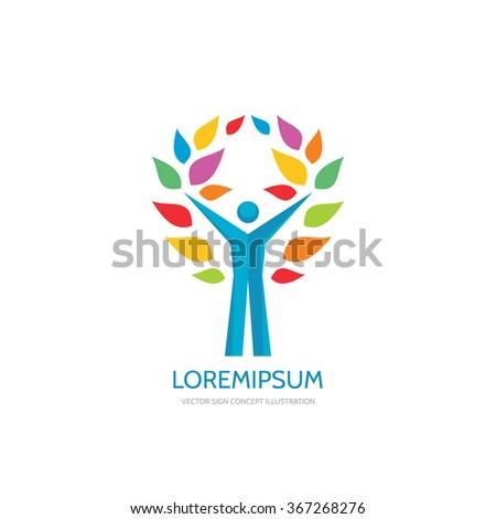 Positive vector logo template. Human character concept illustration. People man sign. Music festifal emblem Internet blog icon. Success symbol.  - stock vector