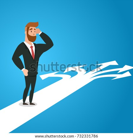 Possibilities. Doubtful businessman selecting the best solution. Concept business Vector illustration Template with Blue Background