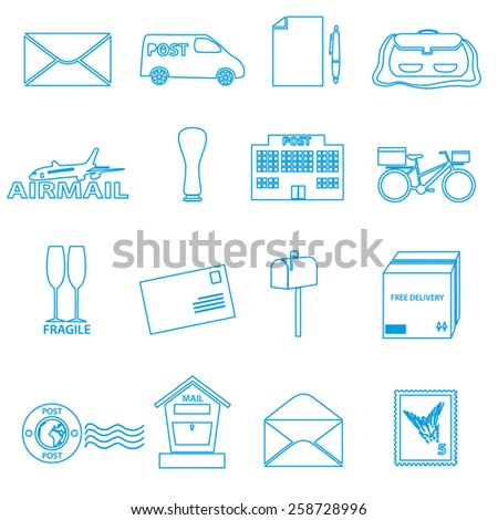 post and mail blue outline icons set eps10 - stock vector