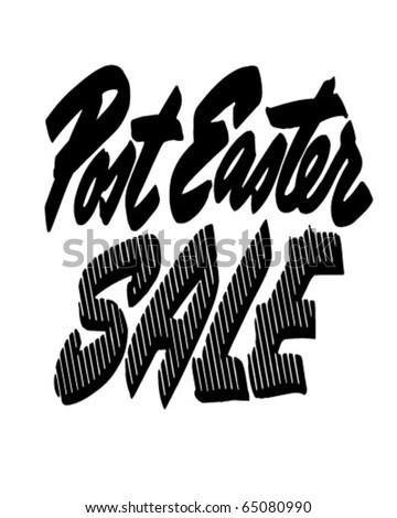 Post Easter Sale - Ad Header - Retro Clipart - stock vector